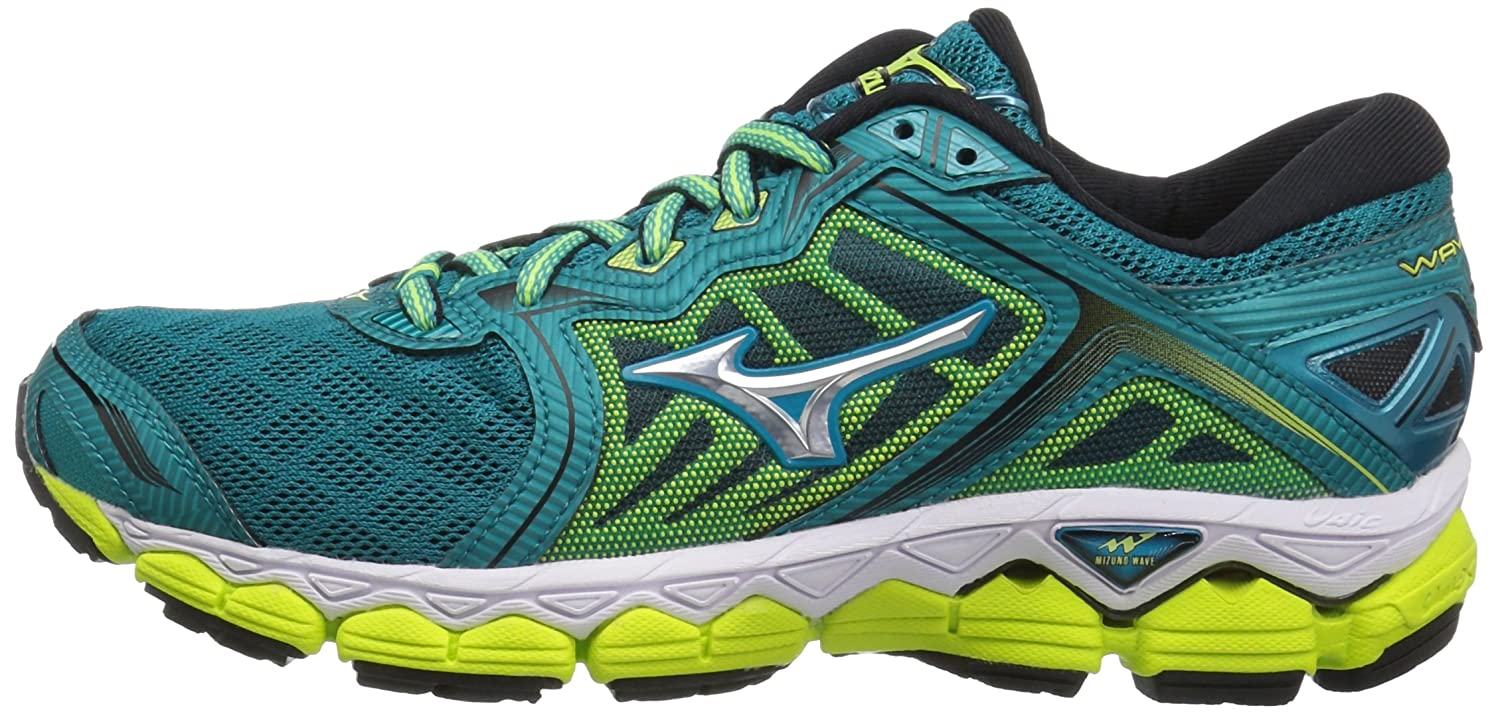 Mizuno Women's Wave Sky Running-Shoes B01MSWBL13 7 B(M) US|Tile Blue/Silver/Safety Yellow