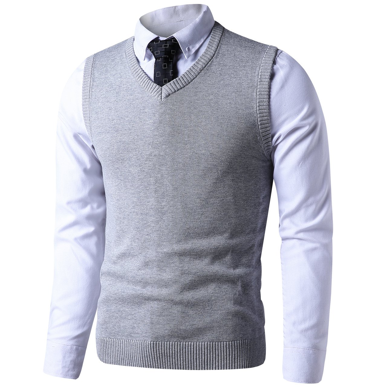 LTIFONE Mens Slim Fit V Neck Sweater Vest Basic Plain Short Sleeve Sweater Pullover Sleeveless Sweaters with Ribbing Edge(Grey,M)