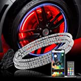 Yiswhis 15.5inch RGB LED Wheel Ring Light Kit w/Turn Signal and Braking Functionand Can Controlled by Remote and app…