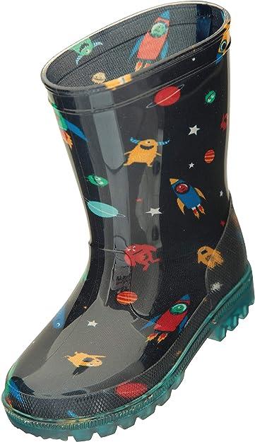 La Suela se Ilumina Mountain Warehouse Botas de Agua Splash Junior con Luces parpadeantes para ni/ños de Limpieza f/ácil Duraderas Botas de Agua Ideales