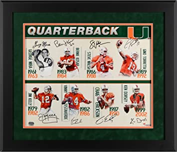 Miami Hurricanes Framed Multi-Signed 16 quot  x 20 quot  Quarterback U  Photograph with Suede 4c58c087e