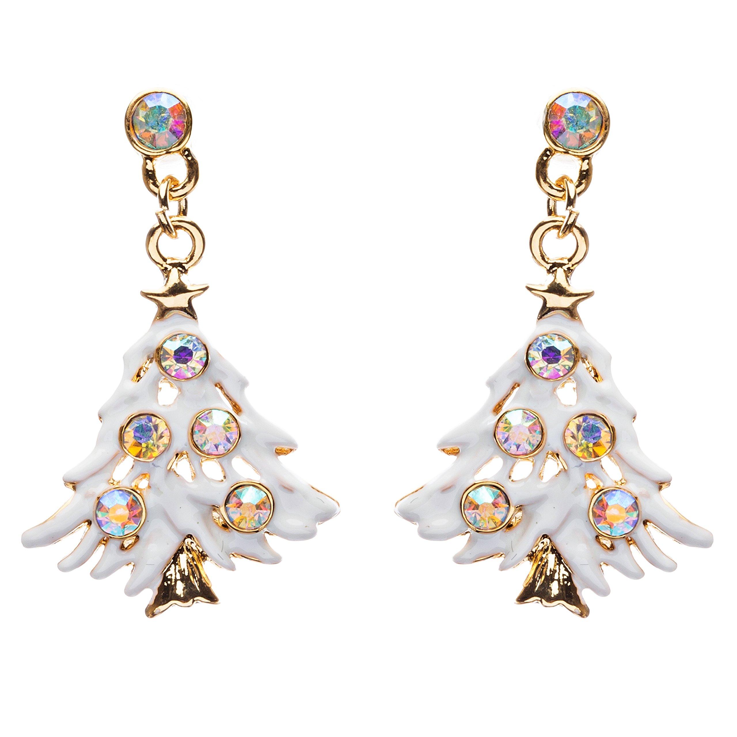ACCESSORIESFOREVER Women Christmas Jewelry Crystal Rhinestone Colorful Christmas Tree Earrings E799 Multi