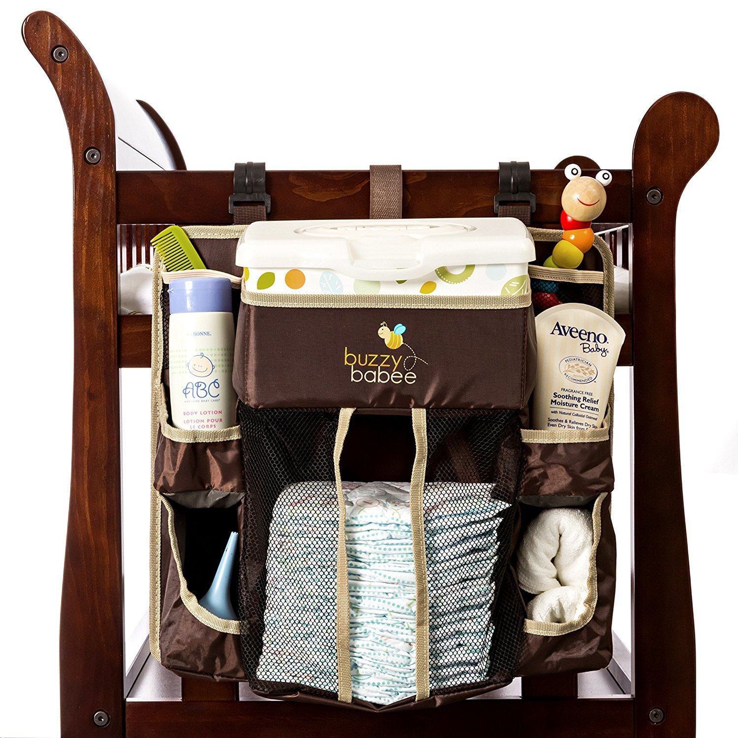 Buzzy Babee Diaper Change Organizer Brown//Coffee Perfect Diaper Caddy /& Playard Organizer BB-DCO1