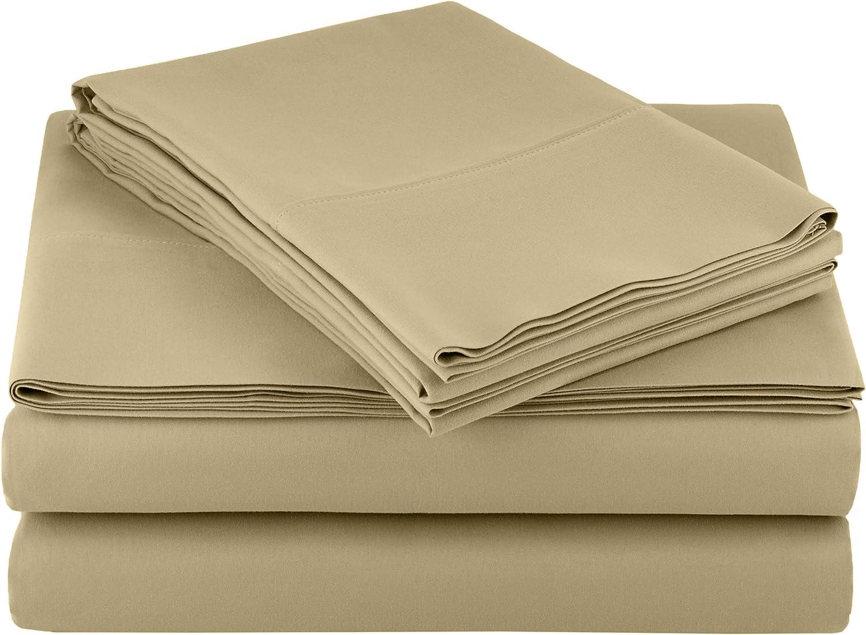 AmazonBasics Light-Weight Microfiber Sheet Set - Queen, Olive