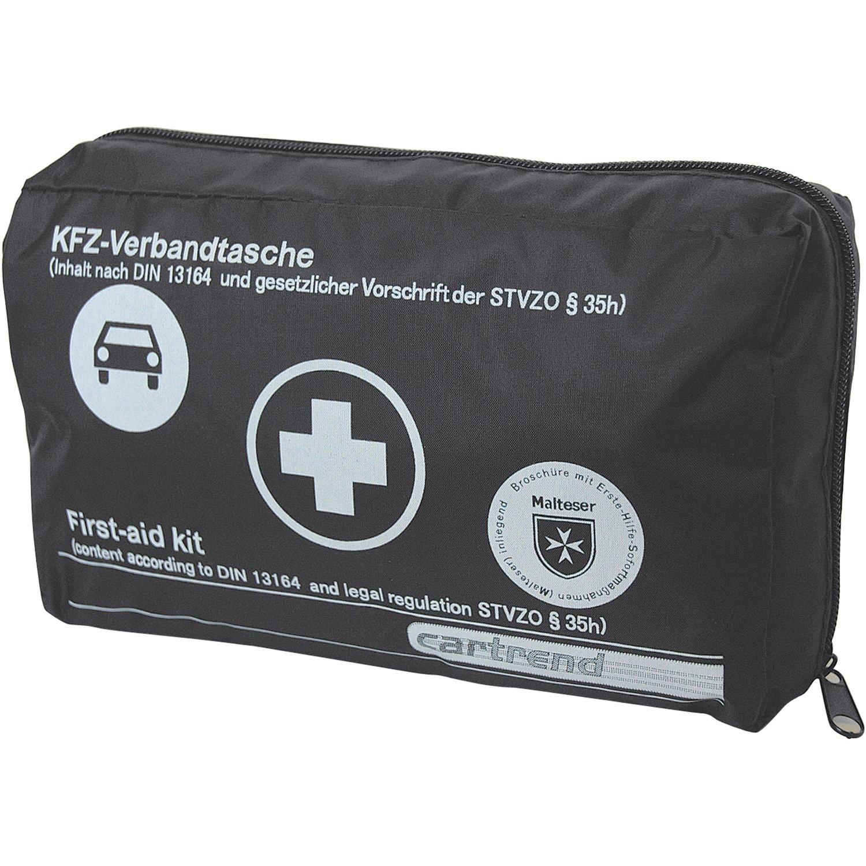 Cartrend 7730042 Kit de primeros auxilios rojo, DIN 13164, con manual de primeros auxilios
