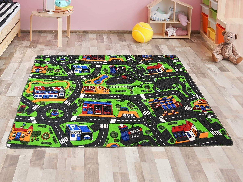Stadt Motiv 95 x 200 cm Stra/ßenteppich Kindeteppich Spielteppich CITY