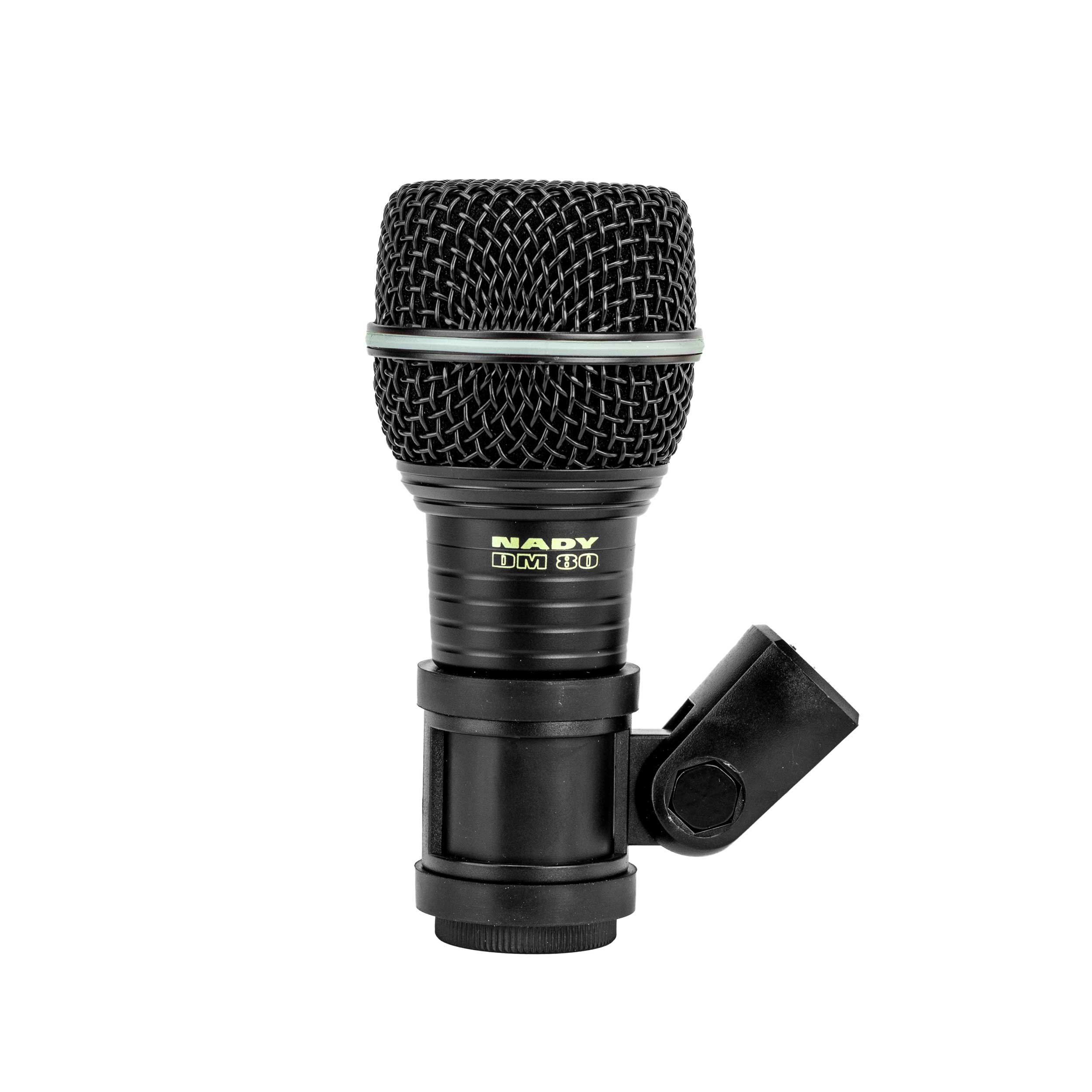 Nady DM-80 Drum Microphone - Enhanced low frequency response for kick drums, Neodymium element, all-metal construction and rubber mount to minimize vibration by Nady