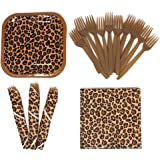 Leopard Print Value Party Supplies Pack (58+ Pieces for 16 Guests), Value Party Kit, Leopard Party Plates, Leopard Print Birt