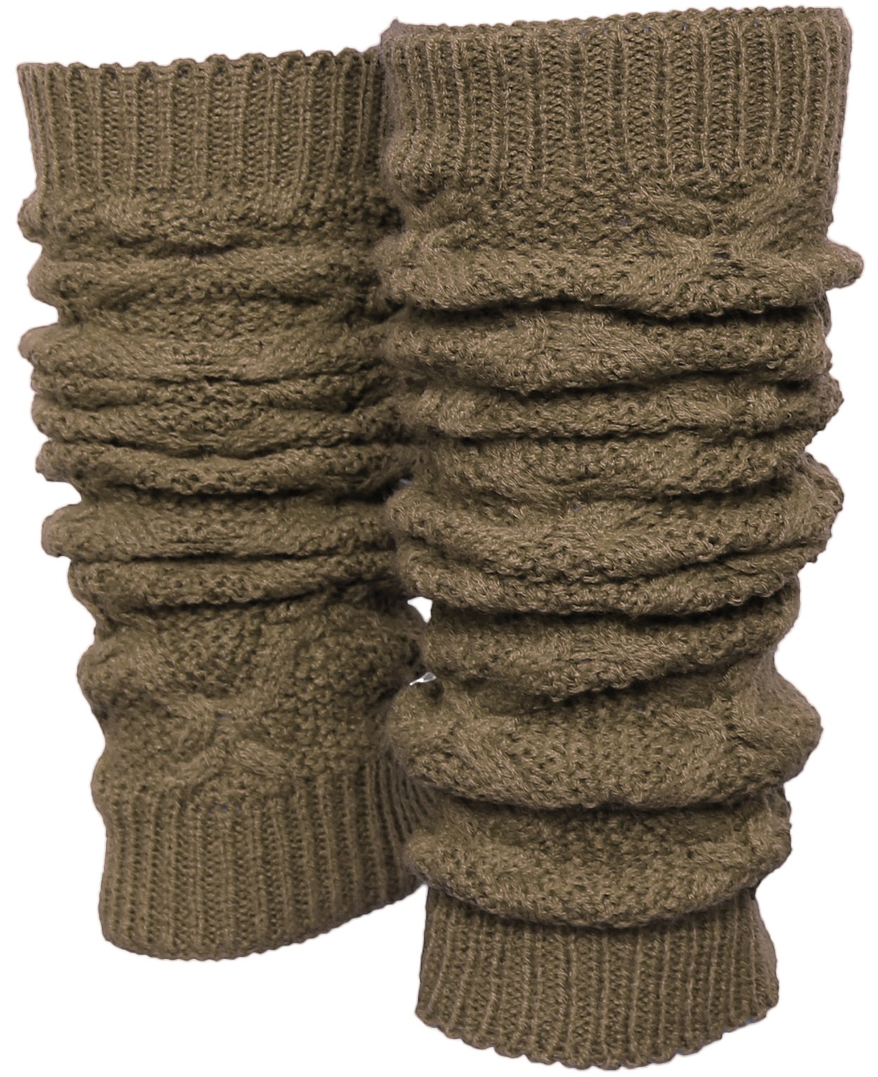 KMystic Solid Winter Cable Knit Leg Warmers (5- Khaki)