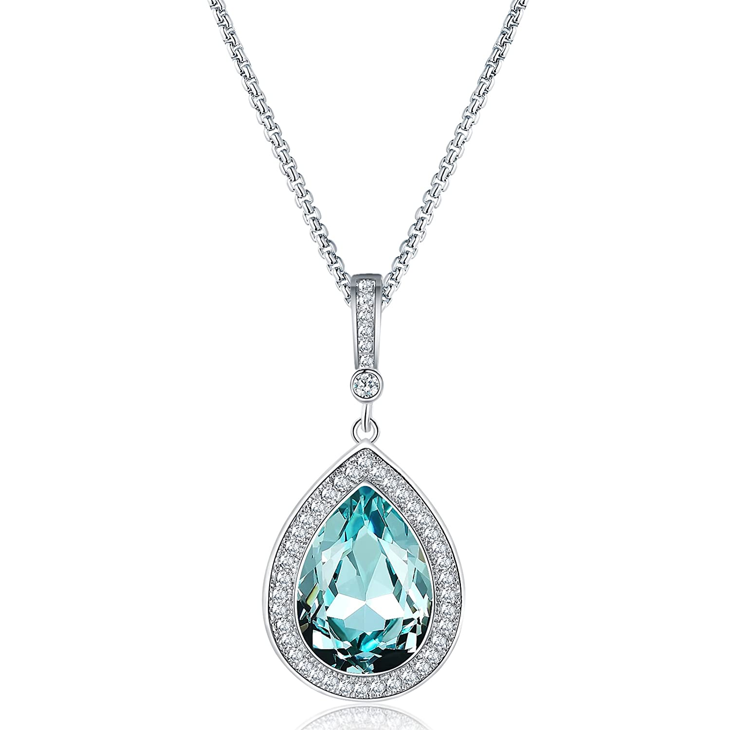 6a64d2ee1 Amazon.com: Mevecco Womens Girls Pendant Necklace with Swarovski Crystal  Water Drop Pendant Fashion Jewelry in The Gift Box-Drop-Aqua: Jewelry