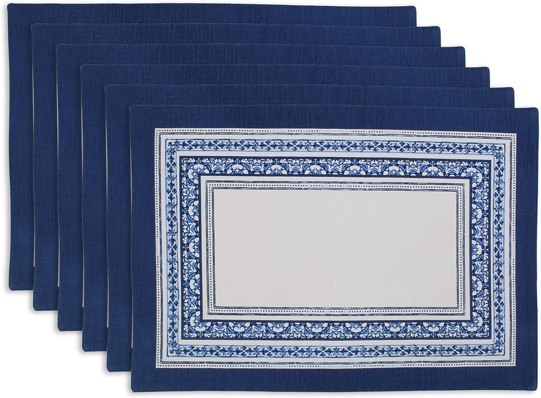 DII Porto Stripe Print Kitchen Textiles, Placemats, 13x19, 6 Pieces