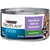 Purina Pro Plan Sensitive Stomach, Grain Free Wet Cat Food, FOCUS Sensitive Skin & Stomach Duck - (24) 3 oz. Pull-Top…