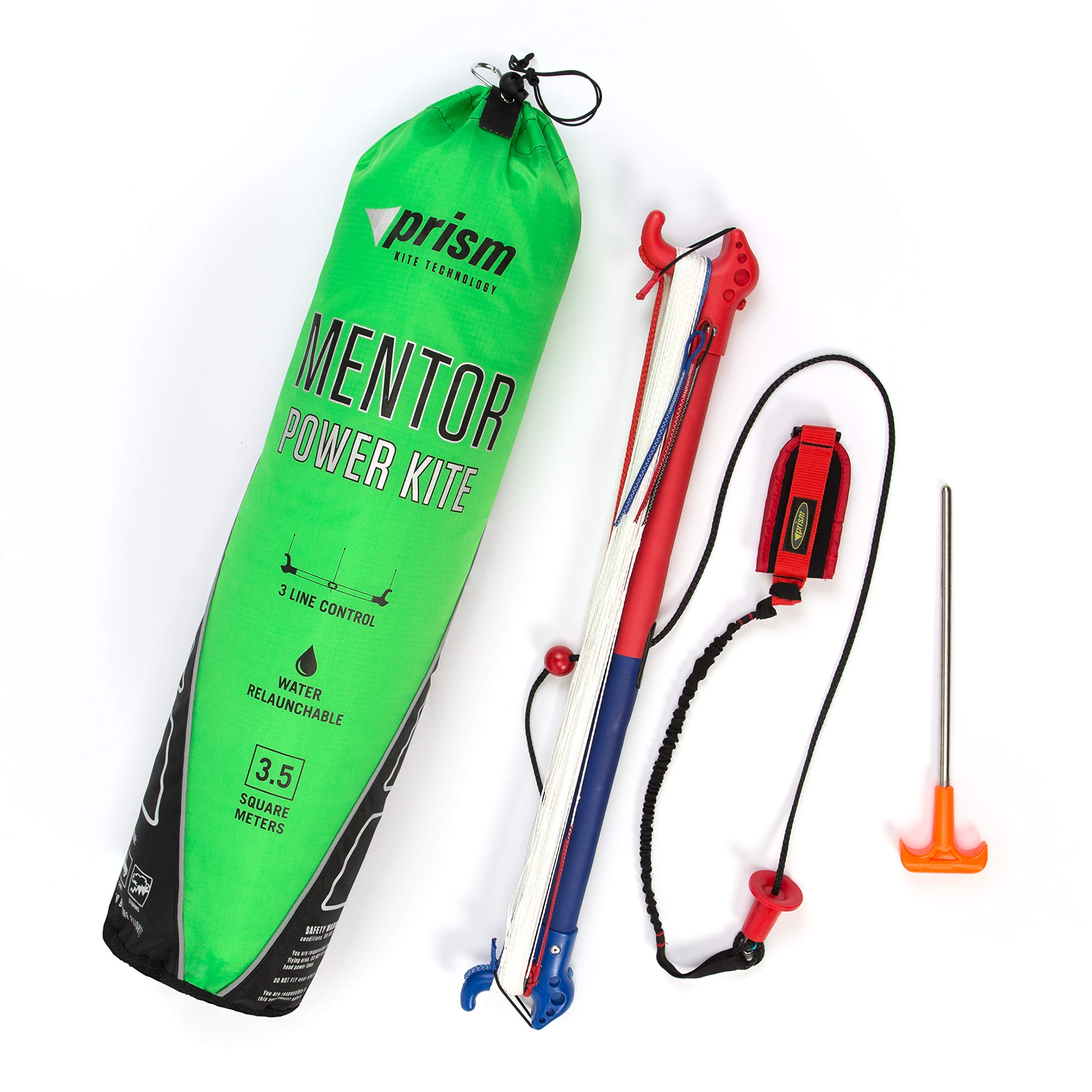 Prism Mentor 3.5m Water-relaunchable Three-line Power Kite Ready to Fly with Control bar, Ground Stake and Quick Release Safety Leash by Prism Kite Technology (Image #2)