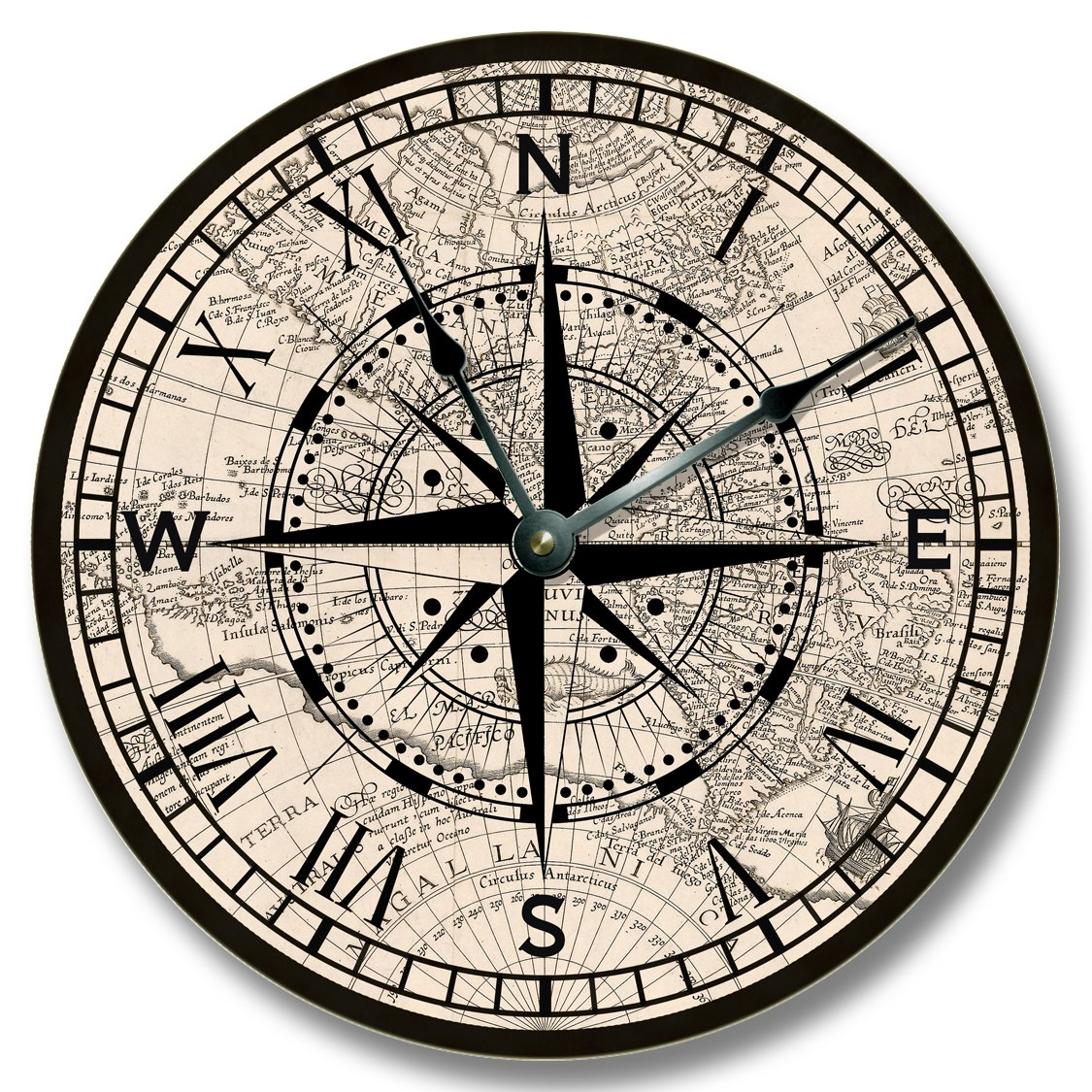 Amazoncom Compass Rose With Old Map Pattern Wall CLOCK Beachy - Antiques us maps with compass