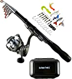 Fishing Rod Reel Kit - Backpacking Ultralight Spinning Rod & Reel Combos with Tackle Box - 1.5m Collapsible Telescoping Rod - Carbon Fiber Design - Camping Travel Hiking Motorcycles & Backpacks