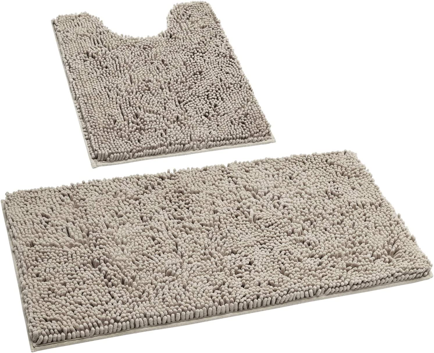 HOMEIDEAS 2 Pieces Bathroom Rugs Set Taupe, Luxury Soft Chenille Bath Mats Set, Absorbent Shaggy Bath Rugs & Slip Resistant Plush Carpets Mats for Tub, Shower , Bathroom