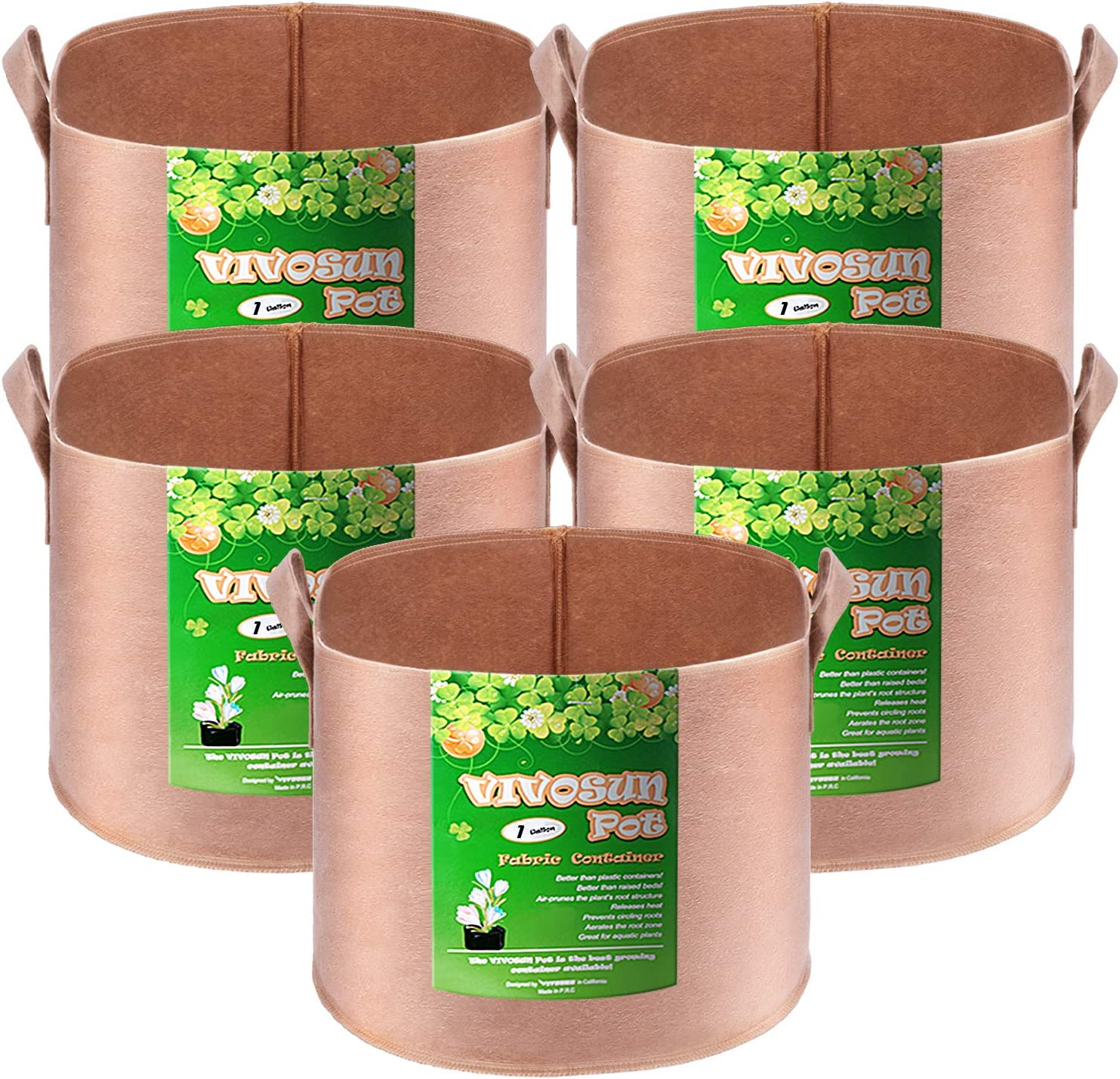 VIVOSUN 5-Pack 1 Gallons Grow Bags Heavy Duty Thickened Nonwoven Fabric Pots with Strap Handles Tan