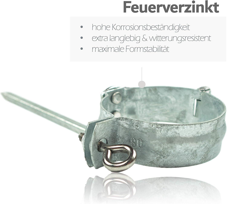 Zink 3er Set Fallrohrschelle feuerverzinkt 100 mm mit 140 mm Schlagstift Alu /& Edelstahl Regenrohre Rohrschelle f/ür Verzinkte Regenrohrschelle verzinkt zur Befestigung von Fallrohren am Geb/äude