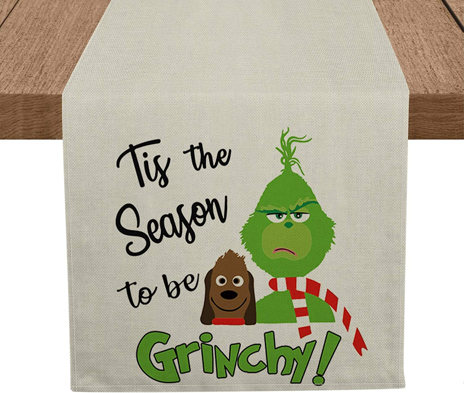 Artoid Mode Christmas Tis The Season to Be Grinchy Table Runner, Seasonal Winter Xmas Holiday Tablecloth Kitchen Dining Table Linen for Indoor Outdoor Home Party Decor 13 x 72 Inch