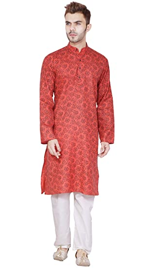 6089be57de SKAVIJ Men s Cotton Handmade Long Sleeve Kurta Pajama - Red