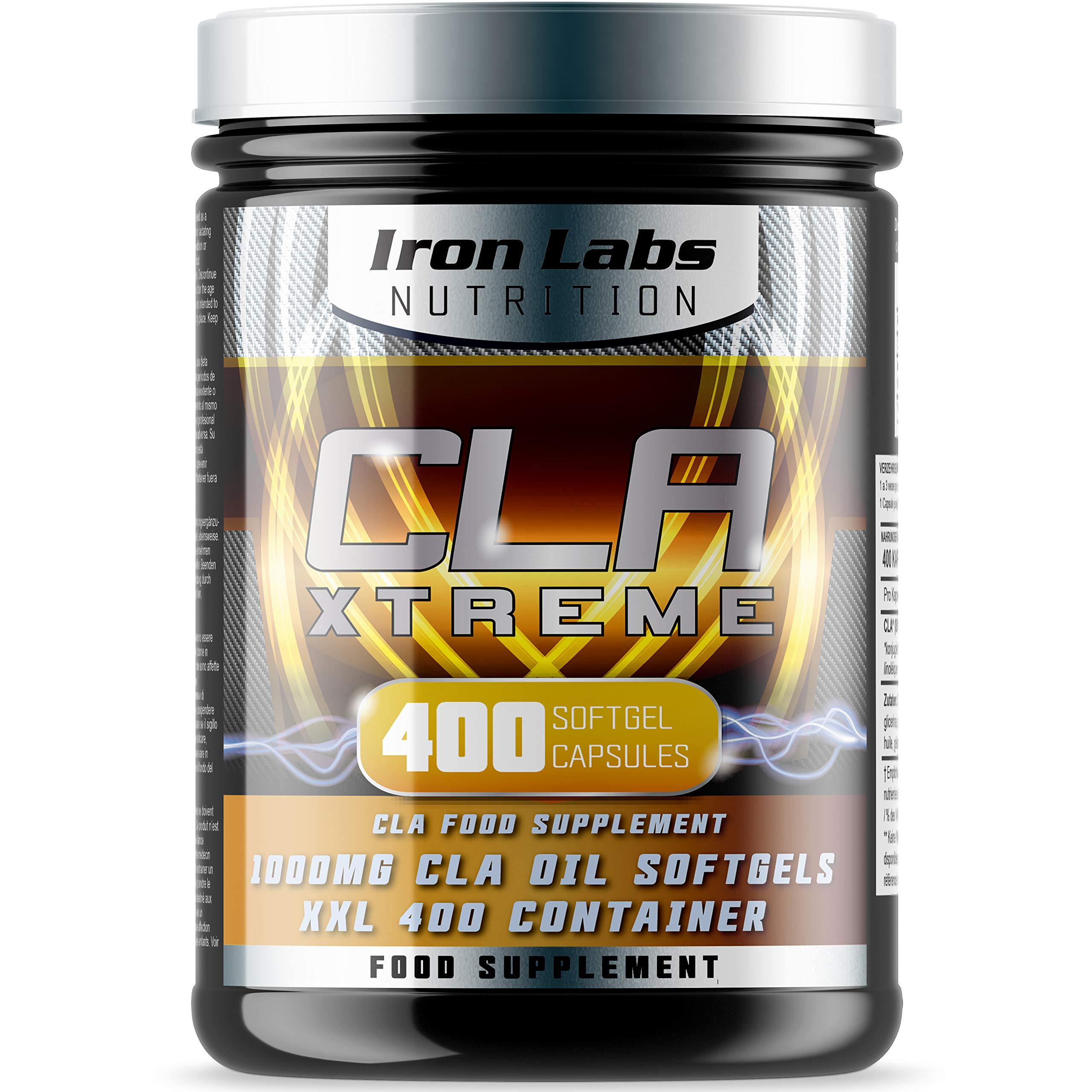 Iron Labs Nutrition, CLA Xtreme XXL - 1000mg x 400 Softgels - CLA supplement featuring 1000mg Conjugated Linoleic Acid Capsules