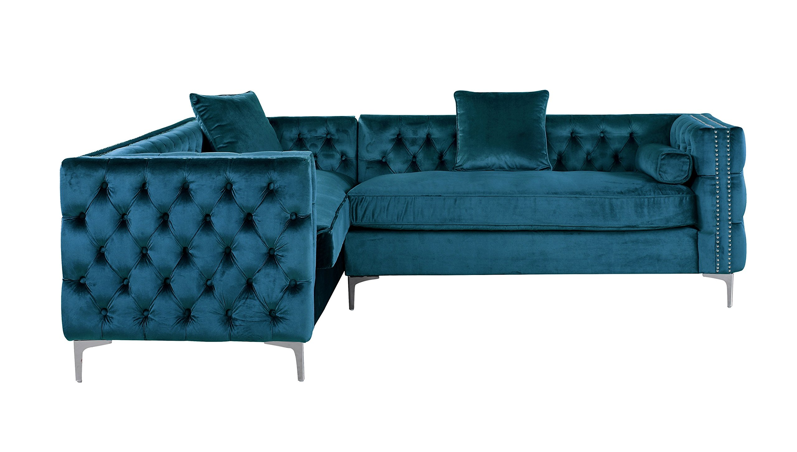 Iconic Home Mozart Elegant Velvet Modern Deeply Tufted with Silver Nailhead Trim Chrome Legs Left Facing Sectional Sofa, Teal - FABRIC: LUXURIOUS VELVET UPHOLSTERY – Expertly upholstered in premium quality velvet fabric –  The plush texture of this velvet creates a rich and luxurious feelRich velvet color DESIGN: STYLISH MODERN TRANSITIONAL LOOK – Sitting in between contemporary and traditional, modern transitional design provides tremendous aesthetic versatility to be used within virtually any interior décorDual silver nailhead trim accent COMFORT: PLUSH MULTI DENSITY CUSHIONING – Plush multi density foam fill allows for a soft yet supportive seat – You and your guests will relax in comfort and styleHigh density foam seating - sofas-couches, living-room-furniture, living-room - 81DFLVRbwIL -