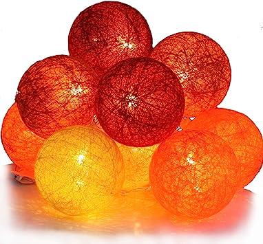 10 LED-Luces de Navidad bolas de algodón, funcionamiento a pilas ...