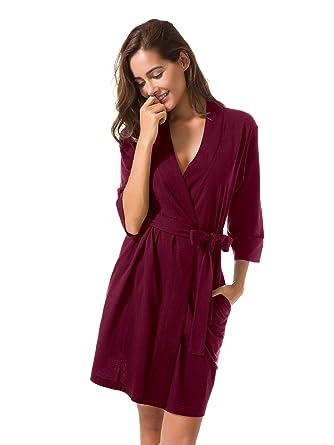SIORO Cotton Robes Lightweight Kimono Robe Gowns Soft Knit Bathrobe  Nightwear V-Neck Loungewear Sexy a05dad16d