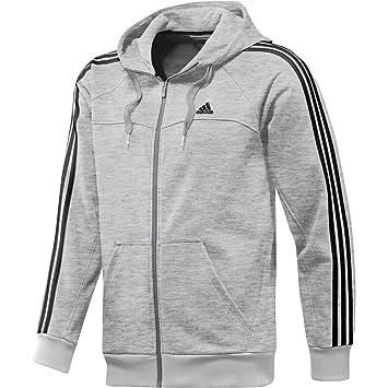 adidas Herren Sweatjacke mit Kapuze Essentials Full Zip 3-Stripes Hoodie  (XS, grau a3a9003597