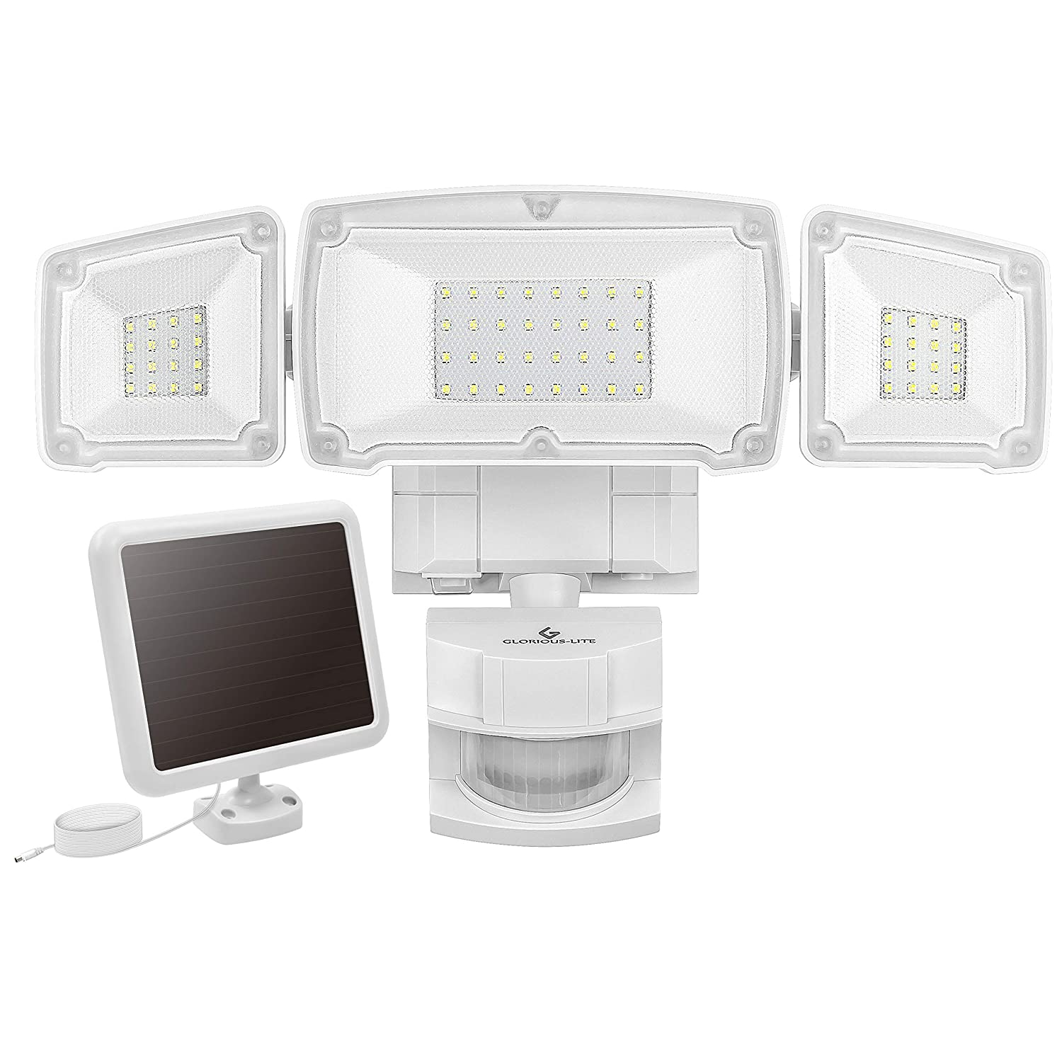 GLORIOUS-LITE Solar Security Light Outdoor, 1500LM Solar LED Motion Sensor Light with 3 Adjustable Head, 6000K, IP65 Waterproof Flood Light for Backyard, Pathway Patio