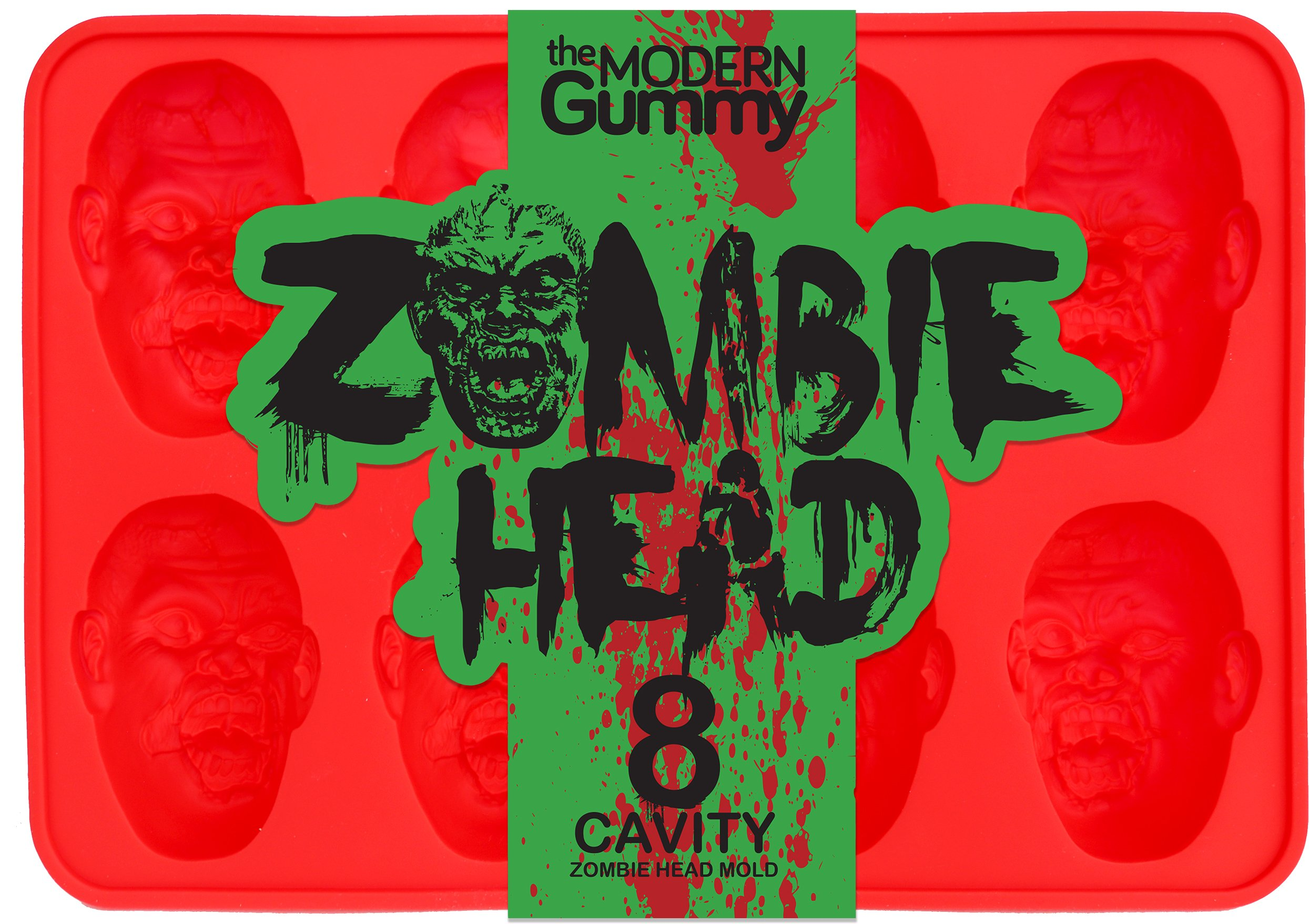 Zombie Head Candy Mold by The Modern Gummy, PROFESSIONAL GRADE PURE LFGB SILICONE, 8 Realistic Cavities per Mold, Includes Recipe PDF; For Gelatin, Chocolates, Cupcake Toppers, Halloween, Zombie Party by The Modern Gummy