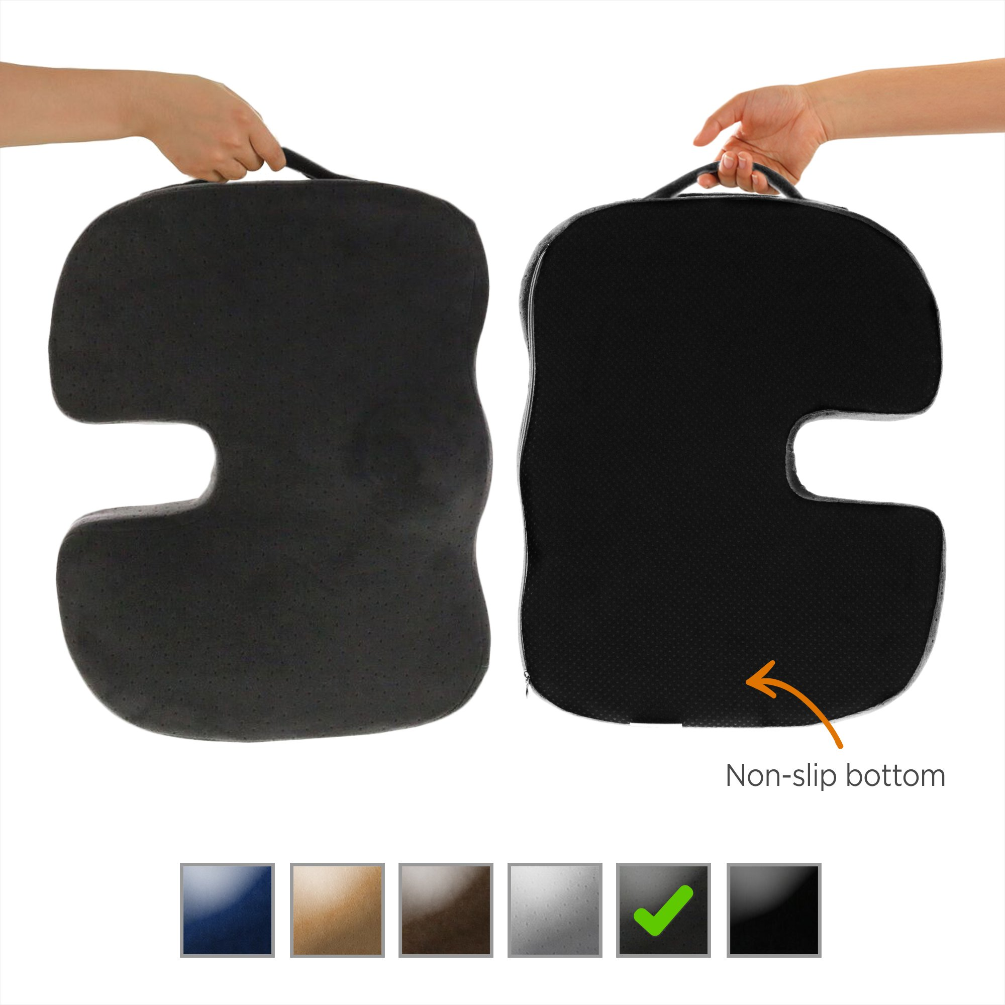 Dr. Ergo | Chiropractor Grade | Firm Orthopedic Memory Foam Seat Cushion | Coccyx, Tailbone and Sciatica Pain Relief | Non Slip Back Support Pillow for Office Chair, Car Seat and Wheelchair - Charcoal