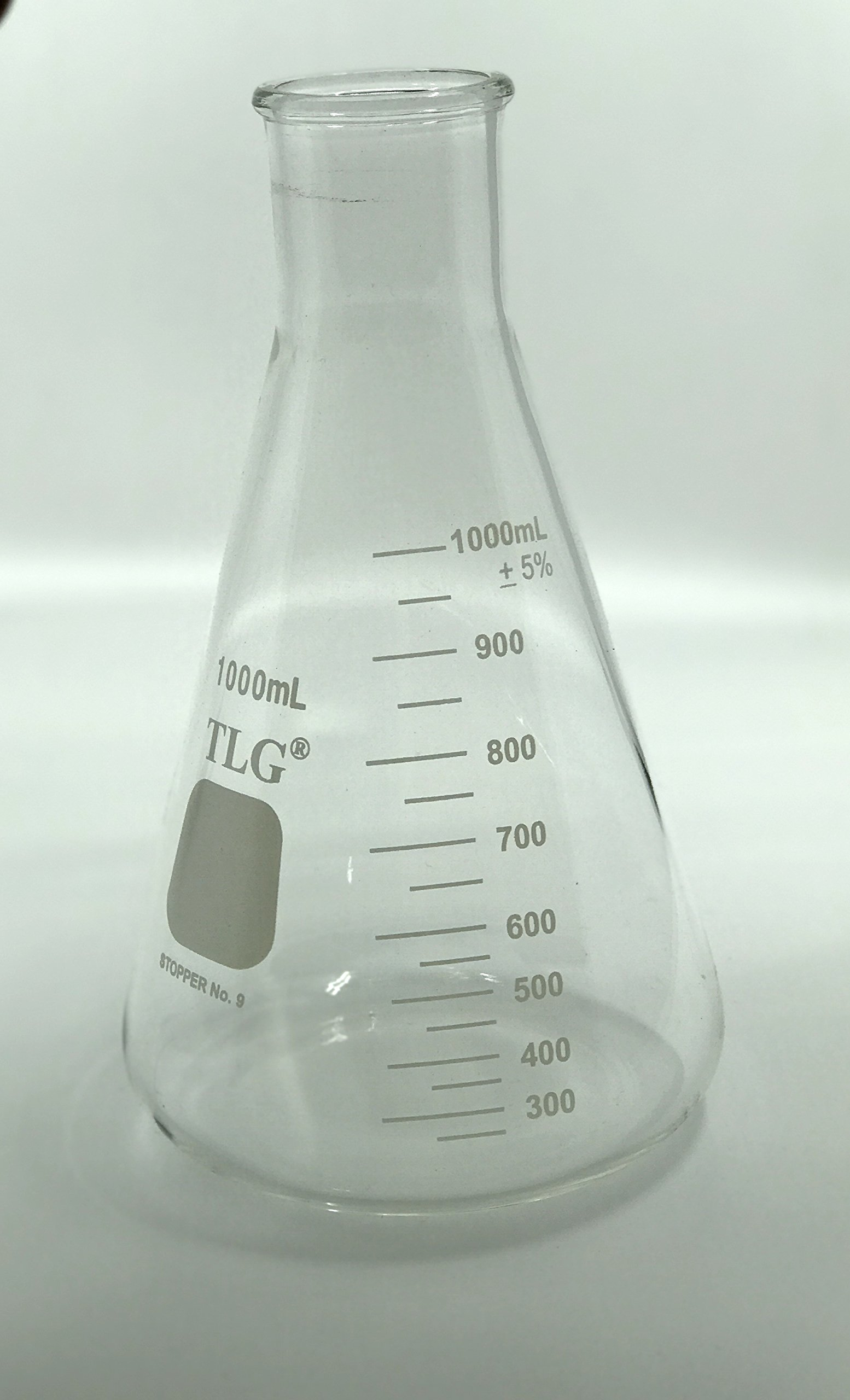 Chem Science INC 231.202.07 Erlenmeyer Flask, Narrow Neck with Graduation, Capacity 1000Ml, Rubber Stopper 9, 1000Milliliters, Degree C, Borosilicate Glass, (