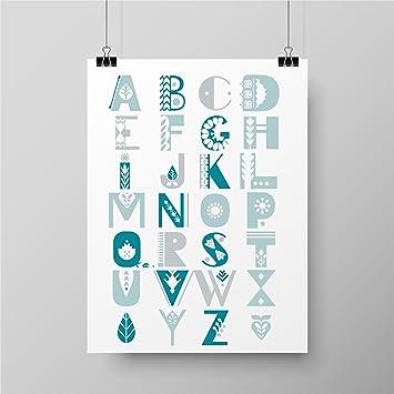 Kinderposter Furs Kinderzimmer Abc Turkis Babyzimmer Poster A4