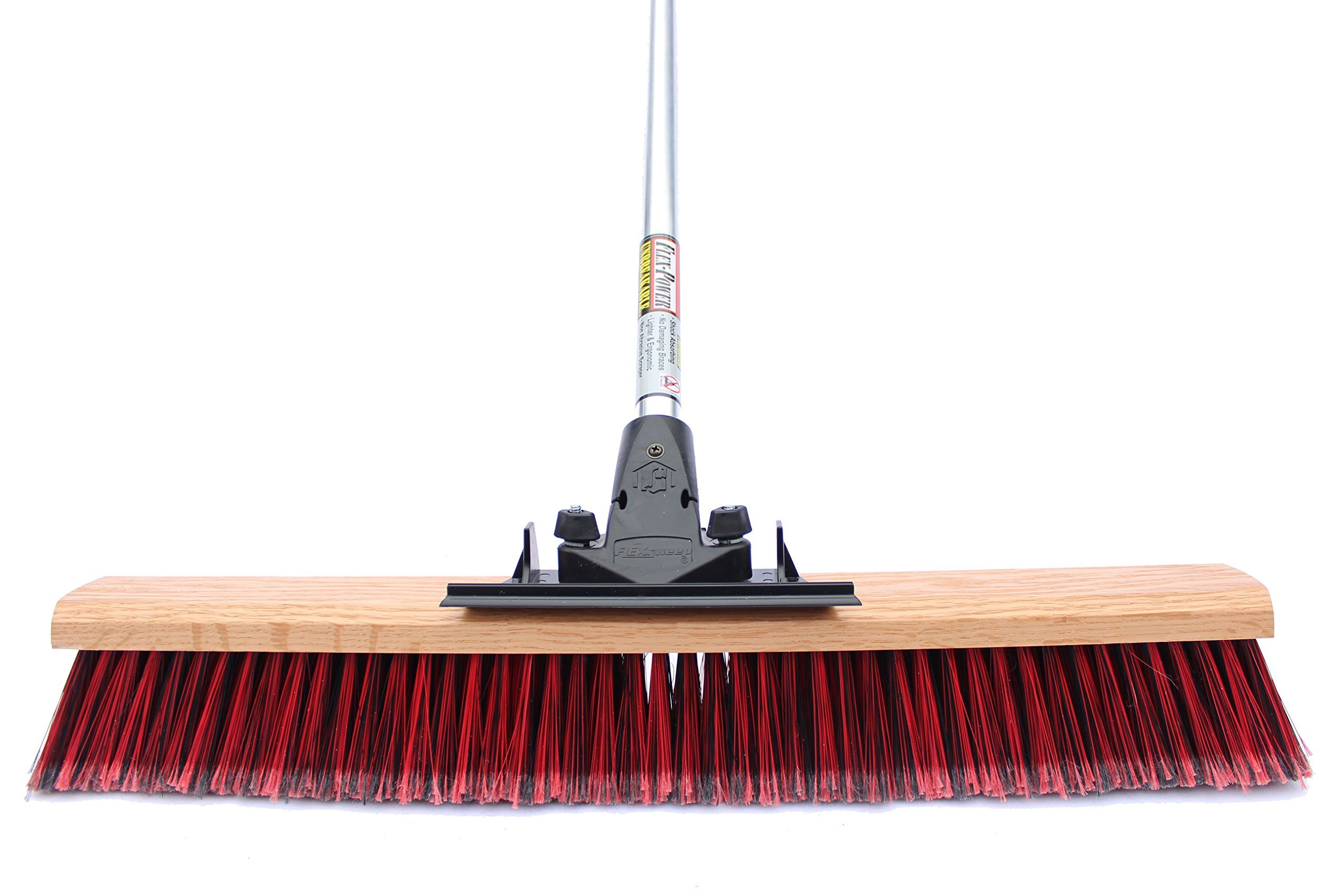 FlexSweep Unbreakable Commercial Push Broom (Contractors 24 Inch) Fine Bristles by FlexSweep