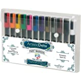 Paint Markers by Artistic Delta - Set of 12 Medium Point Oil-based Art Pens - Assorted Opaque Colors with Matte Finish - Durable Case - For Painting on Glass, Wood, Ceramic, Metal, Plastic, Porcelain