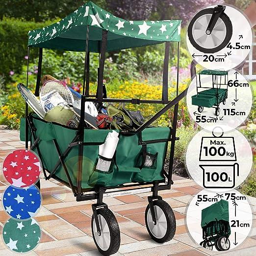 Carrito de Jardin Plegable - con Ruedas Techo Cesta, 115x55x66cm, Máx. 100kg, Color a Elegir - Carro Jardinería, Vagoneta Playa, Carretilla con Techo: Amazon.es: Jardín