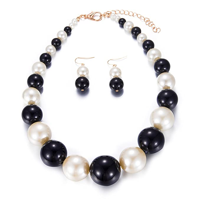 Vintage Style Jewelry, Retro Jewelry Yuhuan Womens Faux Big Pearl Choker Necklace and Earring Set Fashion Pearl Set $9.89 AT vintagedancer.com