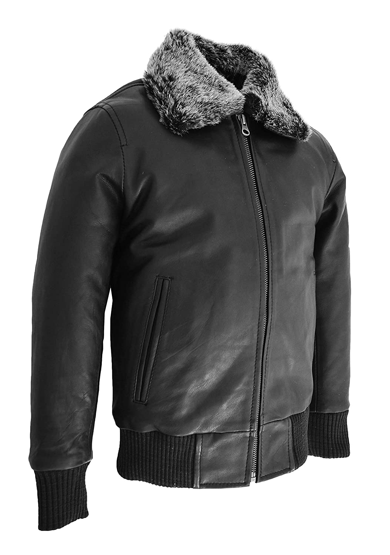 Boys Leather Bomber Jacket Kids Aviator Pilot Style Detachable Collar Liam Black
