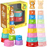 KID PICASSO Stacking Cups Baby Toy - Educational Set for Toddlers with Printed Animals, Numbers, Letters + Interactive Bear -