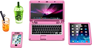 ANNI STAR Miniature Laptop Computer Tablet Toy Phone and Coffee Juice fits Barbie Doll Accessories, 1:6 Scale Dollhouse Accessories Dolls Playsets