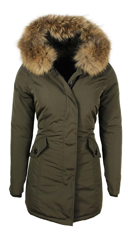 Welp dames jas parka met bont woolgreen groen -xs: Amazon.de: Bekleidung GI-77