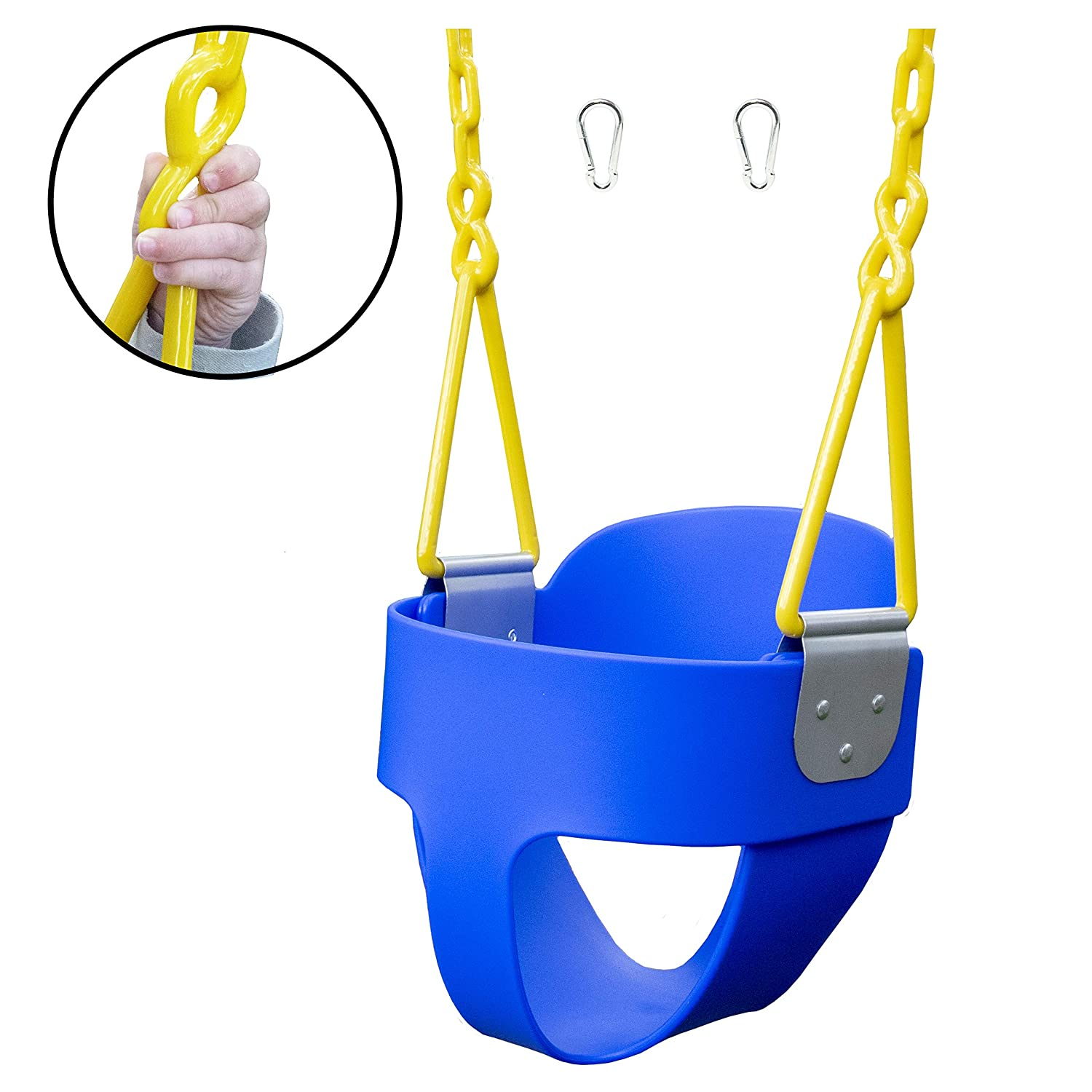 Squirrel Products High Back Full Bucket Toddler Swing with Exclusive Chain & Triangle Dip Pinch Protection Technology - Blue