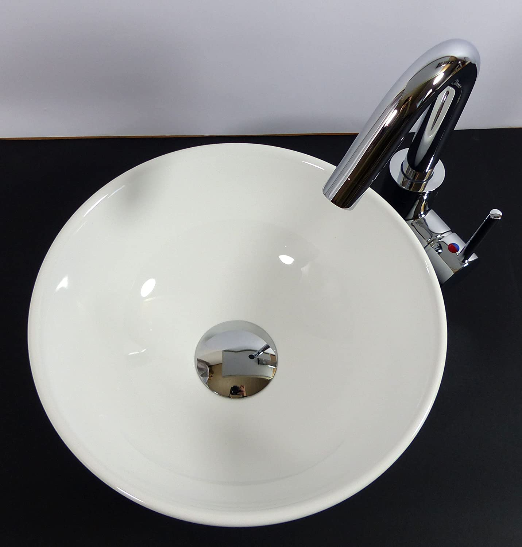 Waschbecken rund  Kleines Keramik Aufsatz Waschbecken rund 28cm Gäste-Bad: Amazon.de ...