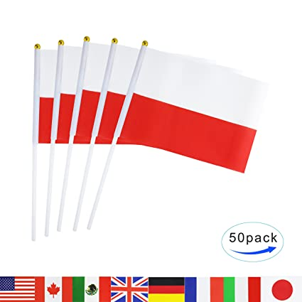amazon com poland stick flag tsmd 50 pack hand held small polish