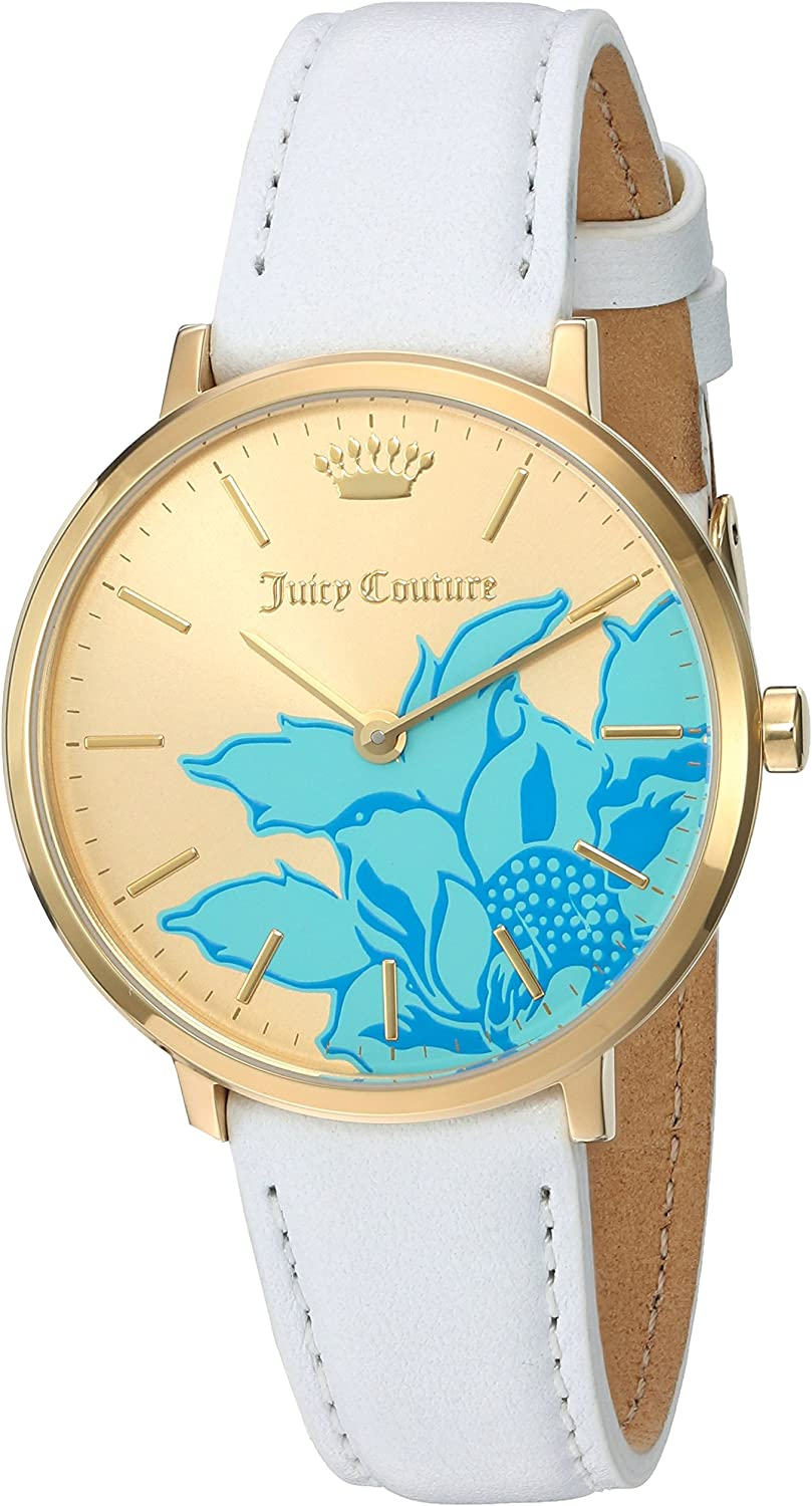 Juicy Couture Women's 'LA Ultra Slim' Quartz Gold-Tone and Leather Quartz Watch, Color:White (Model: 1901457)