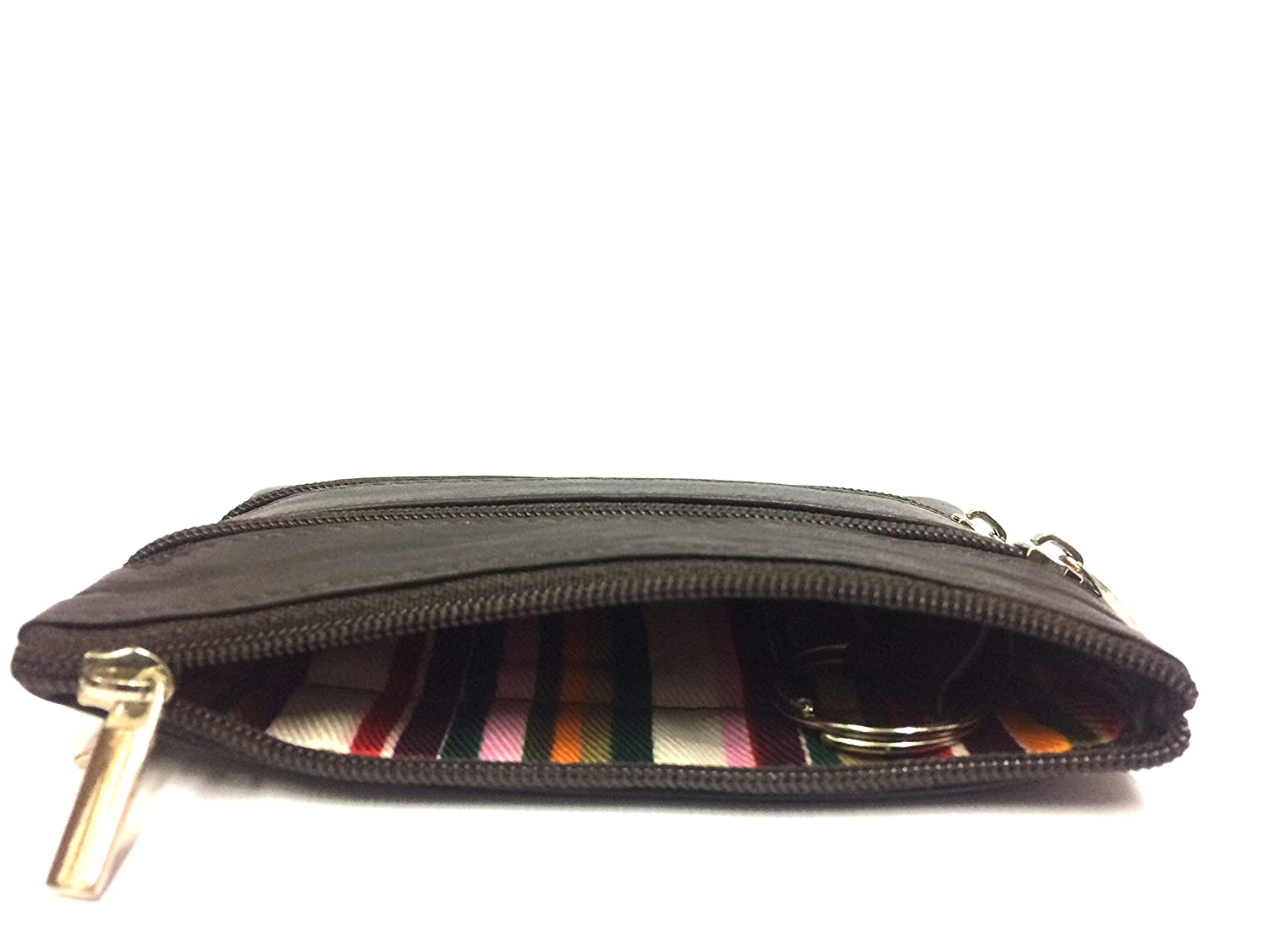 Quality London Leather Goods Premium Zip Coin Purse Change Pouch Dark Brown New