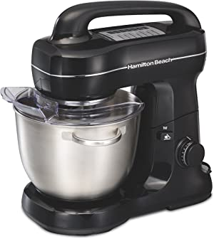 Hamilton Beach Electric Stand Mixer, 4 Quarts, Dough Hook, Flat Beater Attachments, Splash Guard 7 Speeds with Whisk, Black with Top Handle