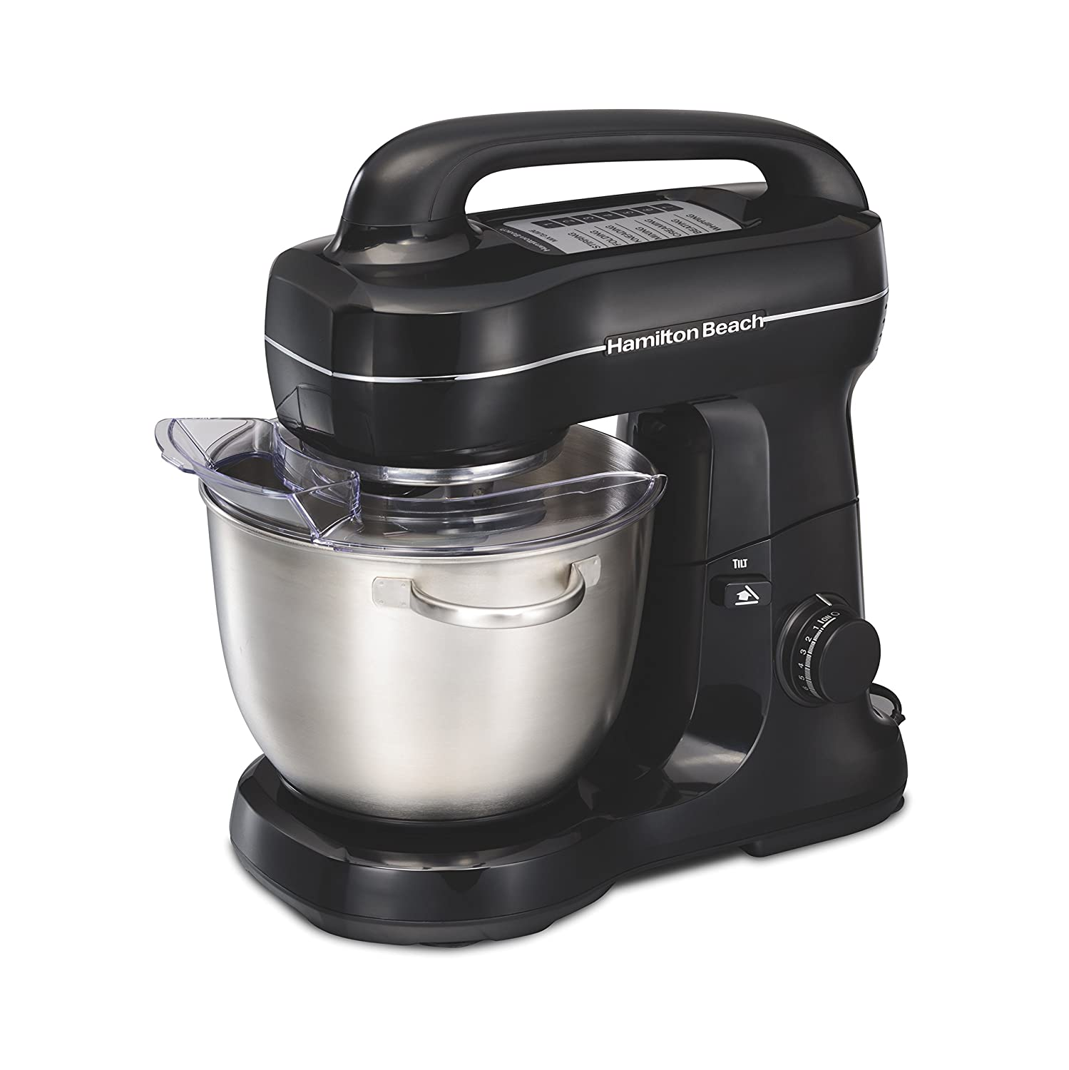 Hamilton Beach 63391 Stand Mixer 7 Speeds with Whisk, Dough Hook, Flat Beater Attachments, 4 Quart, Black