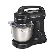 Hamilton Beach 63391 Stand Mixer, 7 Speeds with Whisk, Dough Hook, Flat Beater Attachments, 4 Quart, Black